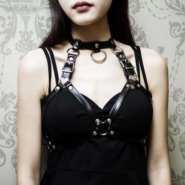 sexy bondage harness bdsm kink fetish lingerie strappy vegan leather  choker o ring sex