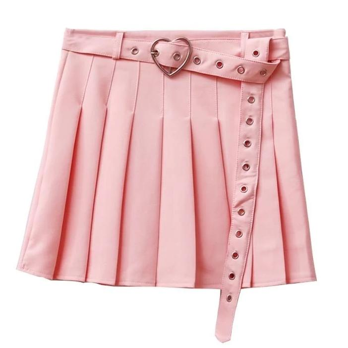 Pleated Belted Skirt