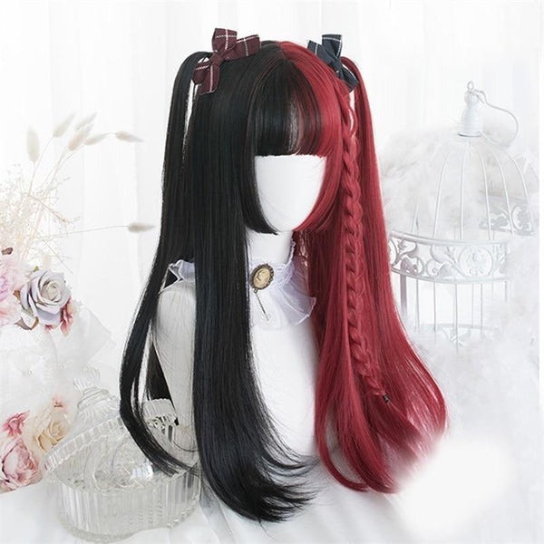 Black & Red Wig - Long Wavy/Straight Wig - wig