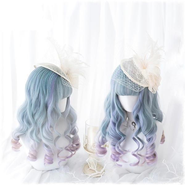 Blue Purple Ombre Long Wig - wig