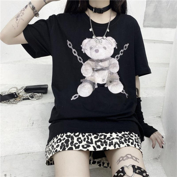 Bondage Bear Tee - Black / XXL - bdsm, bear, dark, goth, gothic