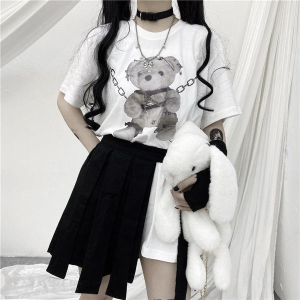 Bondage Bear Tee - White / XL - bdsm, bear, dark, goth, gothic
