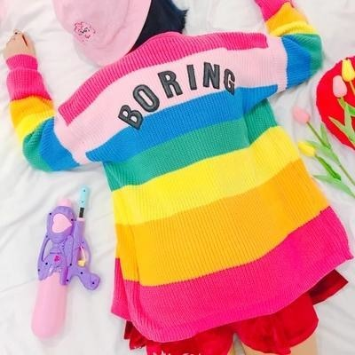 Rainbow Boring Cardigan Crewneck Sweater Knit Knitwear Gay Pride