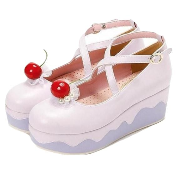 Kawaii Fairy Kei Cupcake Lolita Shoes Sandals Wedge Platforms Drippy Melty Whipped Cream Cherry On Top Decoden Harajuku Fashion