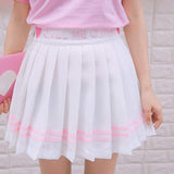 White Call Me Cute Pleated School Girl Skirt Embroidered Kawaii Fairy Kei Fashion Preppy Tennis