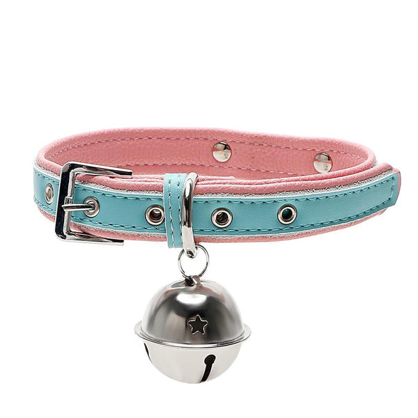 Pastel Leash Collar Choker Bell Kitten Necklace Petplay Kink Fetish Toys