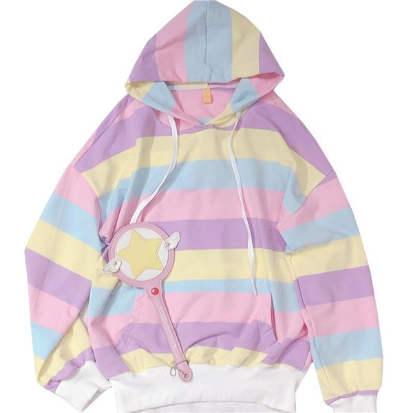 Pastel Rainbow Fairy Kei Pullover Sweater Hoodie Kawaii Fashion Cute