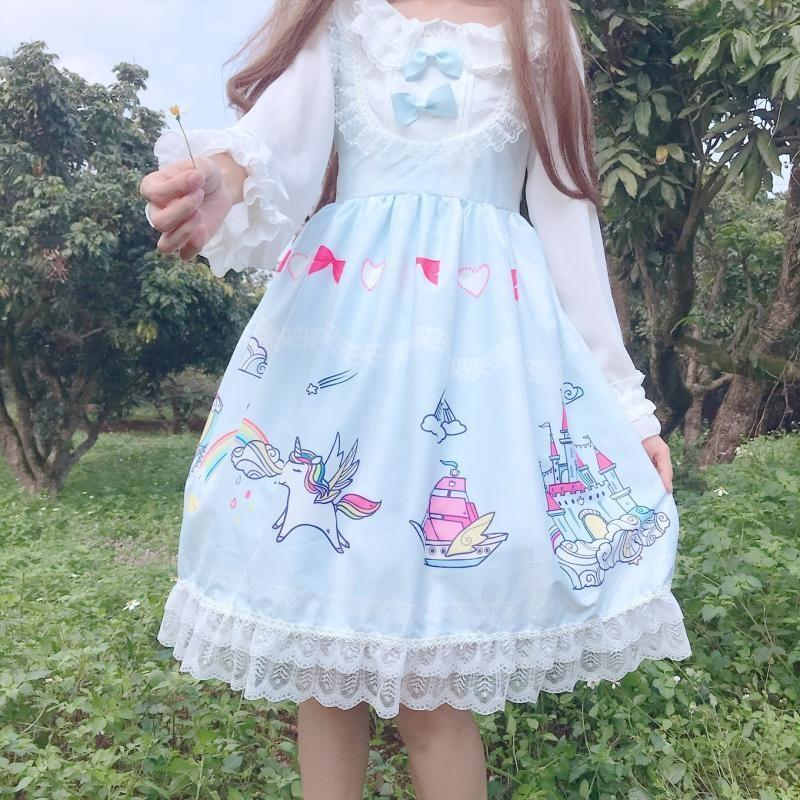 Cartoon Kingdom Lolita Dress - Blue - classic lolita, dresses, jsk, jsk dress, fashion