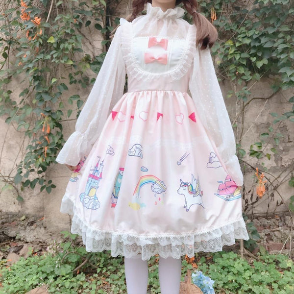 Cartoon Kingdom Lolita Dress - Pink - classic lolita, dresses, jsk, jsk dress, fashion