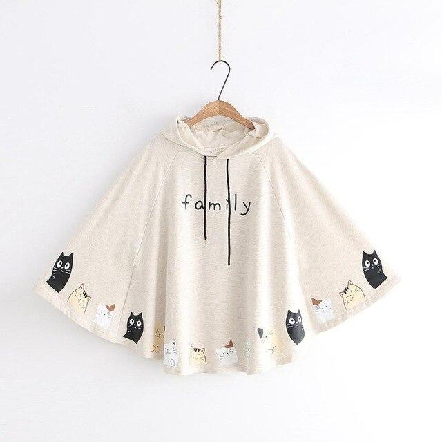 Cat Family Poncho - Beige - sweater