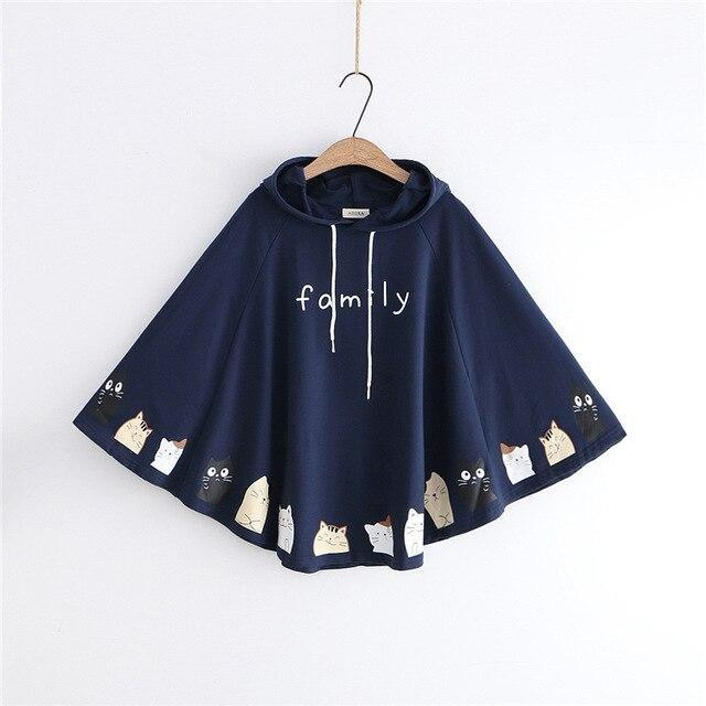 Cat Family Poncho - Navy Blue - sweater