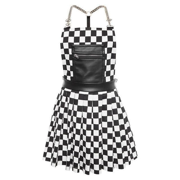 Suspender Overall Checkerboard Dress Apron Punk Rock Edgy Goth Fashion
