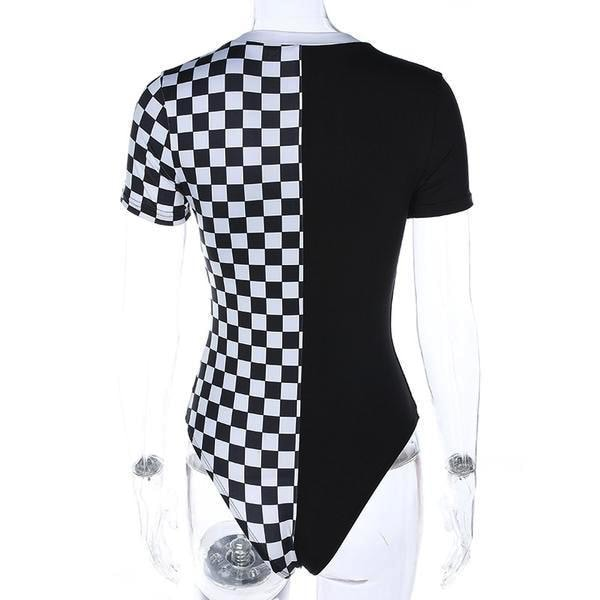 Black & White Checkerboard Bodysuit Romper Jumper Jumpsuit Adult Onesie Punk Rock Edgy Goth