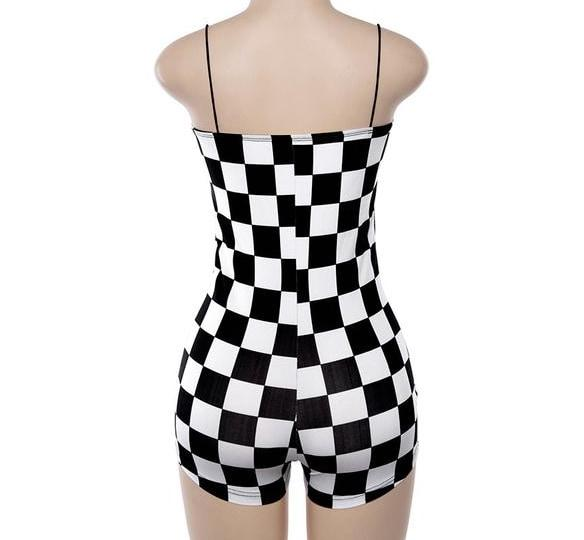 Black White Checkerboard Jumpsuit Romper Bodysuit Shortalls Punk Rock Edgy Goth Fashion