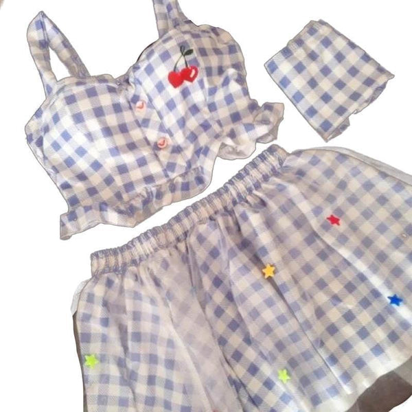Blue Plaid Cherry Outfit Kawaii Tutu Skirt Camisole Harajuku Fashion