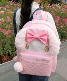 Pink My Melody Bunny Rabbit Backpack Book Bag School Knapsack High Quality Luxury Kawaii Fashion