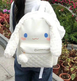 White Cinnamoroll Bunny Rabbit Backpack Book Bag School Knapsack High Quality Luxury Kawaii Fashion