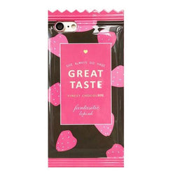 3D Chocolate Bar Candy Wrapper iPhone Case Phone Protector Soft Rubber Pink Brown Strawberry