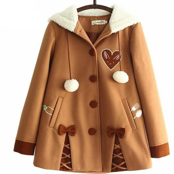 Chocolate Brown Lolita Winter Coat Jacket Mori Girl Kawaii Harajuku Fashion Hoodie