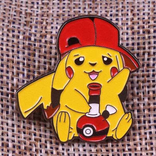 Chronic Pikachu Pokemon Enamel Pin Lapel Brooch Bong Toke Marijuana Weed
