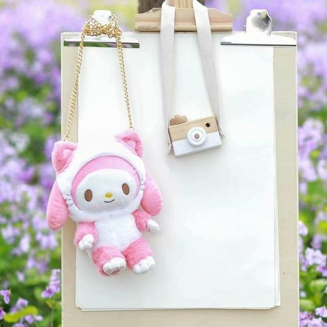 Fairy Kei Pastel Pink My Melody Plush Toy Bag Purse Storage Kawaii Cute