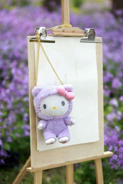 Fairy Kei Pastel Purple Hello Kitty  Plush Toy Bag Purse Storage Kawaii Cute