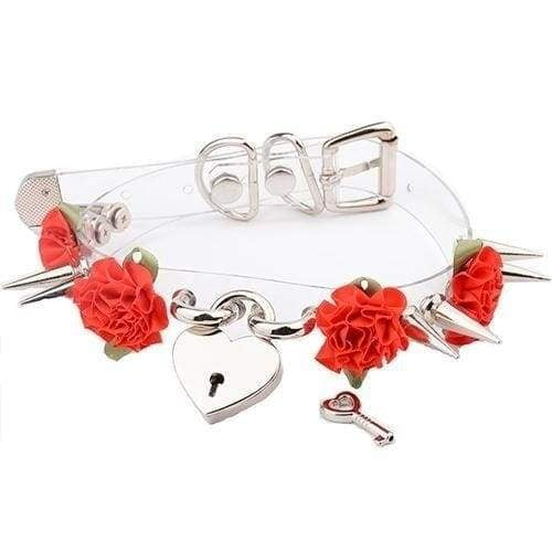 Clear Spiked Floral Choker - Red Flower Silver - Choker