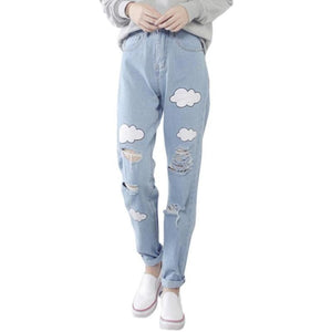 Cloud Mom Jeans Denim Distressed Ripped Acid Wash Hipster 90s Retro Vintage Style