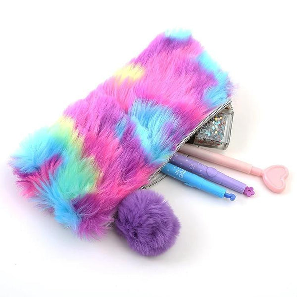 Bright Rainbow Vegan Fur Storage Pencil Bag Makeup Cosmetic Case Kawaii