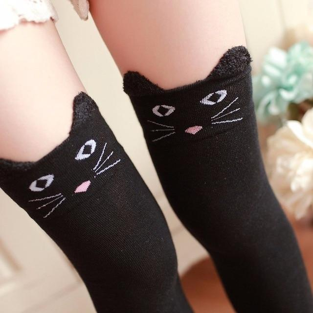 Cotton Animal Thigh Highs - Black Cat - stockings