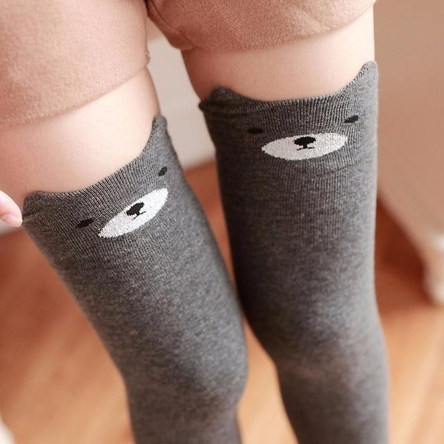 Cotton Animal Thigh Highs - Grey Bear - stockings