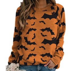 Cozy Bat Crewneck - bats, batty, black and orange, creepy, crewneck