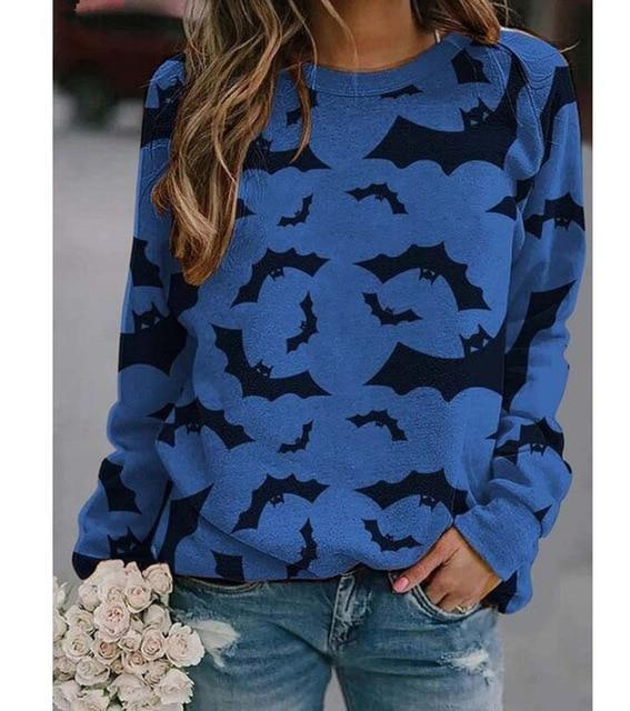 Cozy Bat Crewneck - Blue / 5XL - bats, batty, black and orange, creepy, crewneck