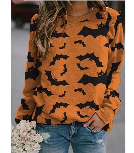 Cozy Bat Crewneck - Orange / 5XL - bats, batty, black and orange, creepy, crewneck