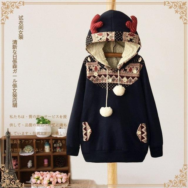 Navy Blue Reindeer Deer Antler Hoodie Sweater Hooded Sweatshirt Pullover Pom Poms Cozy Warm Christmas Festive Santa