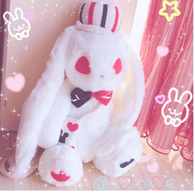Creepy Evil White Bunny Rabbit Backpack Plush Cards Poker Playing Mad Hatter