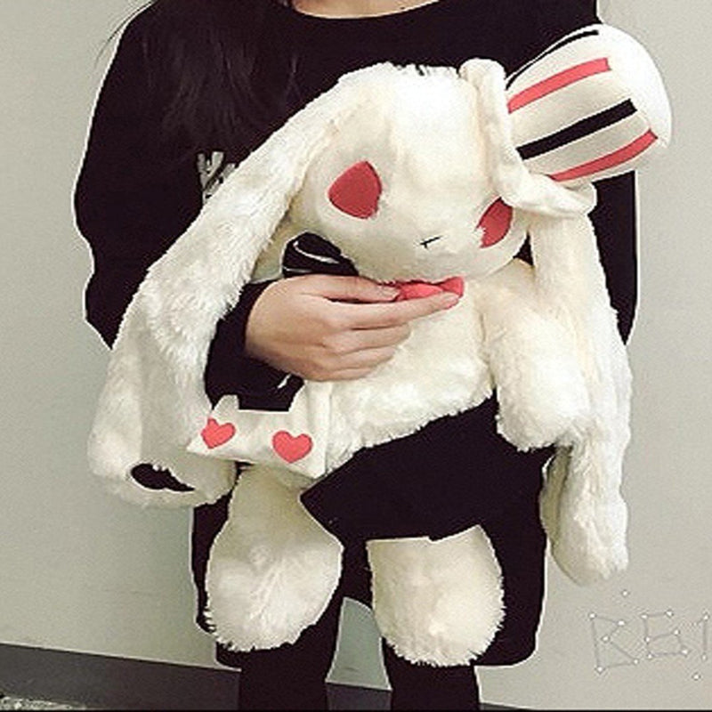 Creepy Evil White Bunny Rabbit Backpack Plush Cards Poker Playing Mad Hatter Alice in Wonderland