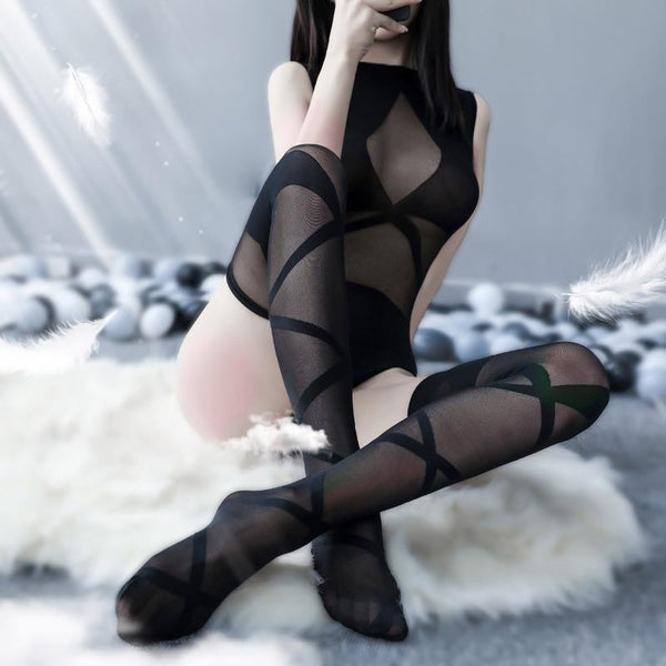 Criss Cross Mesh Bodysuit - bodysuits, catsuit, fishnet, gauze, intimates