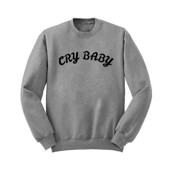 cry baby long sleeve crewneck sweatshirt crew neck sweater crybaby little space youthful young pink princess cgl abdl by ddlg playground
