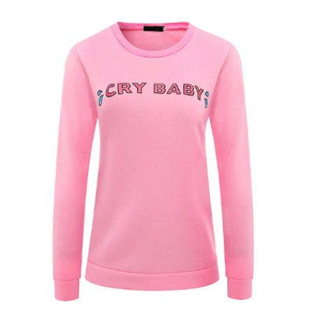 cry baby pink crewneck sweater long sleeve sweatshirt tears wet water abdl cgl dd/lg fashion clothing