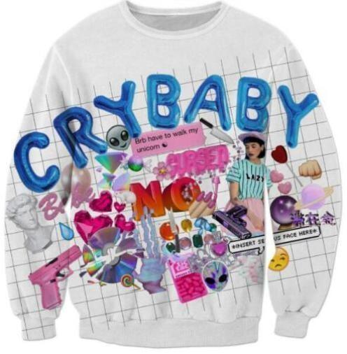 Crybaby Crewneck White Sweatshirt Sweater Long Sleeve Top ABDL CGL Little Space Cry Baby