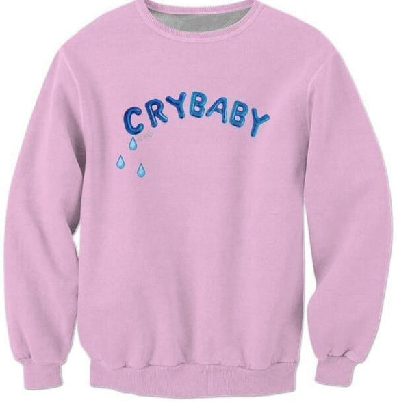 crybaby long sleeve crewneck sweater sweatshirt embroidered tears abdl cgl dd/lg little space