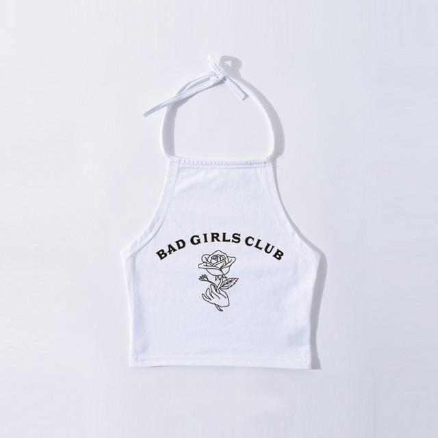 White Bad Girl's Club Girl Tank Top Halter Shirt Belly Cropped Crop Top DD/LG Fetish Kink by DDLG Playground