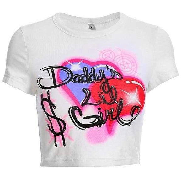 Daddy's Lil Girl Crop Top Sugar Daddy Cropped T-Shirt Neon Graffiti Print Harley Quinn ABDL CGL Kink Fetish