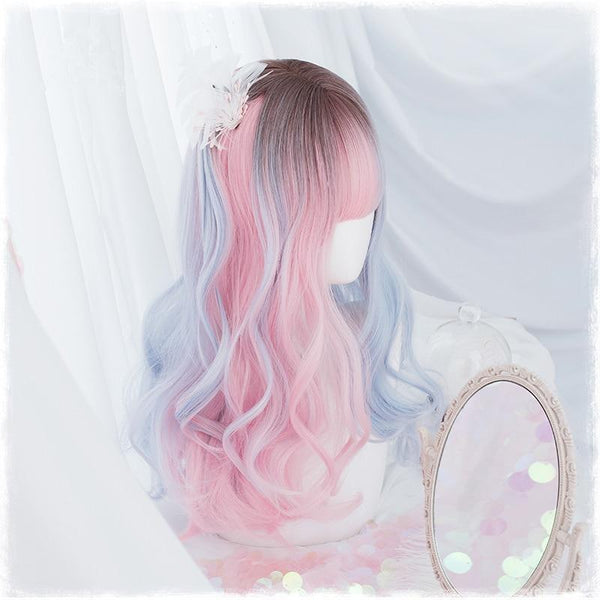 Dainty Blue Pink Ombre Wig - wig