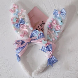 Decora Handmade Bunny Ears - Blue - accessories, baby bun, bunny ear, ear headband, ears