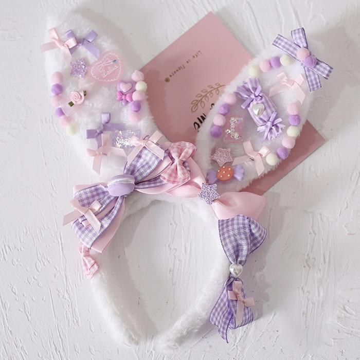 Decora Handmade Bunny Ears - Purple - accessories, baby bun, bunny ear, ear headband, ears