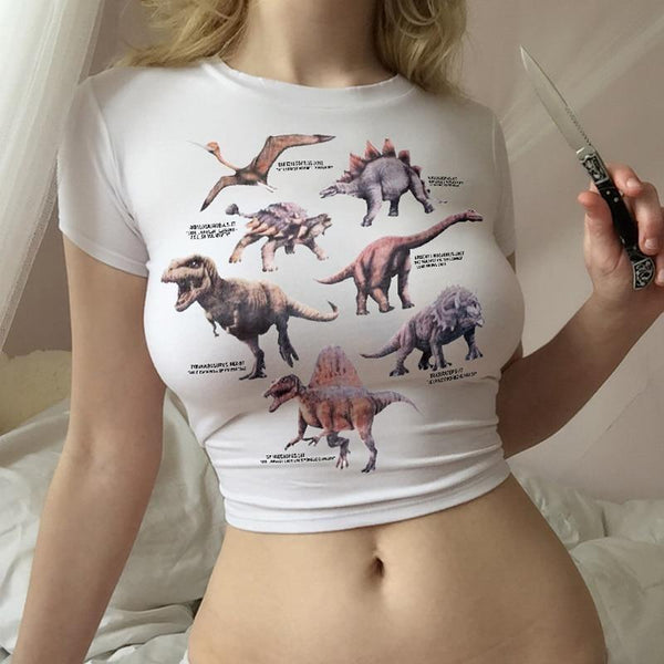 White Dinosaur Diagram Infographic Crop Top Belly Shirt T-Shirt
