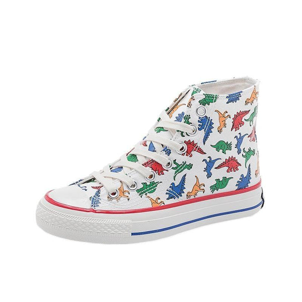 Dino-Kiddo Sneakers - white high / 36 - athletic shoes, canvas chuck taylors, dinos, dinosaur shoes