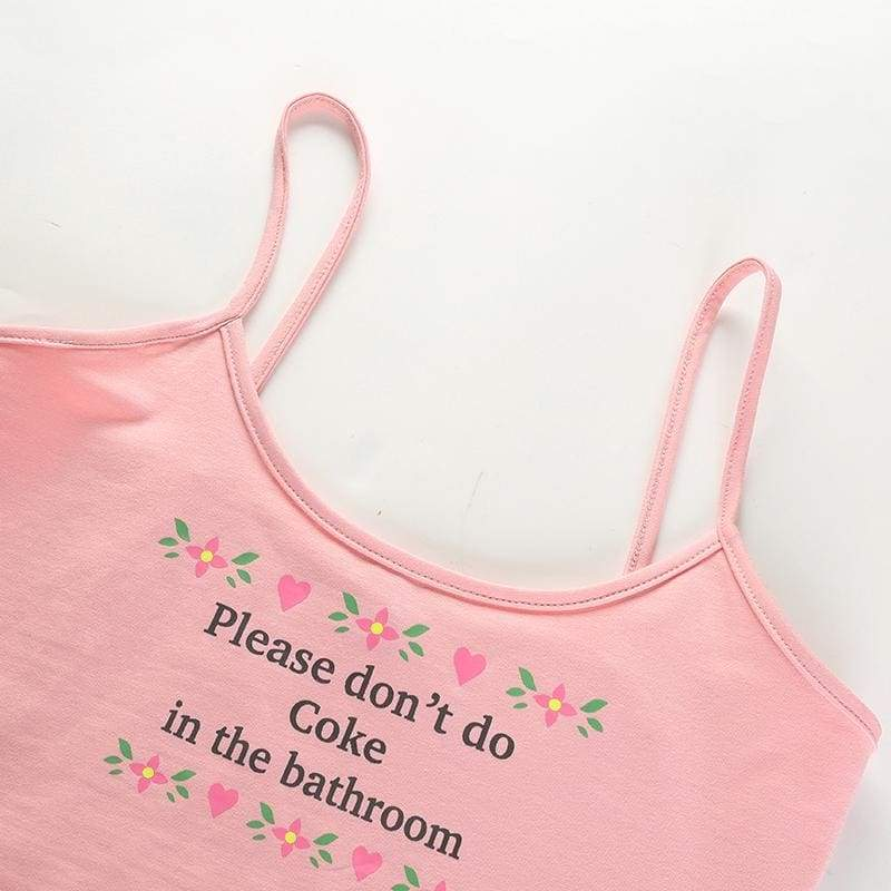 Pink Please Don't Do Coke In The Bathroom Tank Top Spaghetti Strap Cropped Shirt Belly Top Hipster Sexy | DDLG Playground